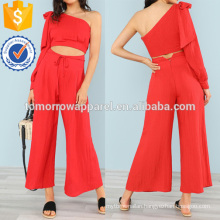 One Shoulder Crop Top With Bow And Matching Wide Leg Pants Manufacture Wholesale Fashion Women Apparel (TA4107SS)