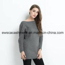 Jersey largo de cachemira de mujer con color sólido