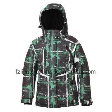 Kid′s bedruckt mit Kapuze wattierte Winter Ski Jacke