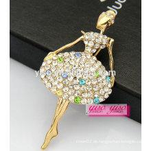 Top Verkauf schöne schöne Tänzer Mädchen Legierung Kristall Brosche