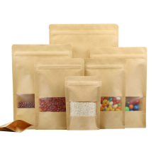 Zipper Ziplock Kraft Paper Bag Stand up Pouch with Clear Window for Food Storage Packaging Dried Dates Candy Spices Peanut Food Packaging