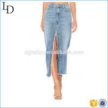 Fábrica directamente venta de mujeres maxi falda larga con falda de mezclilla hendidura