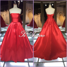 1A001cx Pure Color Rojo simple Satin Sash una línea de longitud de piso fuera del hombro vestido de novia 2016