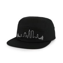 chapeau militaire noir pur à plusieurs panneaux avec broderie plate