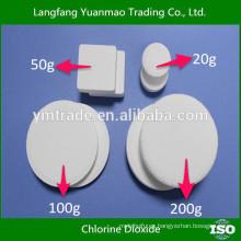 Purificación de agua Cloruro de dióxido de efervescencia tableta 10%