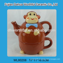 2016 forma de mono marrón tetera de cerámica conjunto