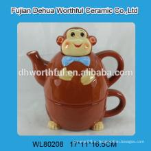 Керамический чайник с чашкой в дизайне обезьяны