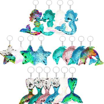 18 PIECES REVERSIBLE MERMAID SEQUIN KEY CHAIN-0