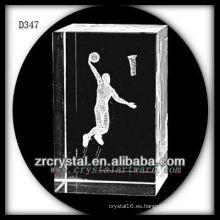 Baloncesto subsuperficial 3D K9 dentro de rectángulo de cristal