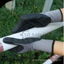 SRSAFETY дешевая цена нитриловые перчатки / сделано в Китае / 15 калибра нейлон лайнер с покрытием черные спандекс нитриловые перчатки