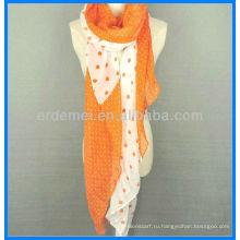 Леди мода длинный ом печать шарф хлопок