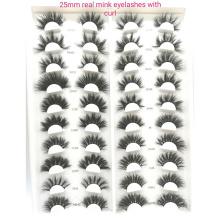 DL018 Hitomi 100% Real Mink Eyelashes eyelashes box packing custom private label Fluffy real 25mm mink eyelashes