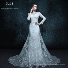 ZXB1 Mermaid Appliques Long Sleeve Lace Muslim Wedding Dress 2015