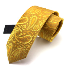 Forme a seda Jacquard tejida Fabricantes Oro Paisley Tie