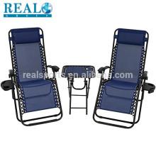 Cadeira de praia com a cadeira de praia de dobramento da tela da gravidade zero do assento para pés