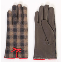 Lady Fashion Sheepskin Leather Driving Dress Gloves (YKY5169-1)