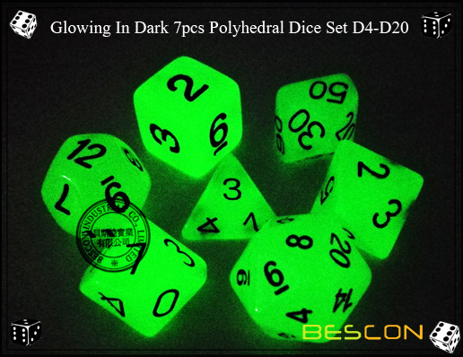 Glowing In Dark 7pcs Polyhedral Dice Set D4-D20-2