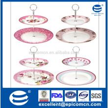 photo shooting nice pink series garden flower decorated porcelain 2 tier cake stand set