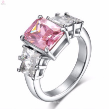 Stainless Steel Big Pink Stone Finger Rings Design For Women With Price