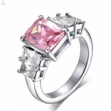 Из Нержавеющей Стали Большой Розовый Камень Палец Кольца Дизайн Для Женщин С Ценой
