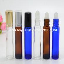 10 ml de rouleau de cobalt en verre bleu sur bouteille et bouteille bleue avec boule de rouleau en métal inoxydable