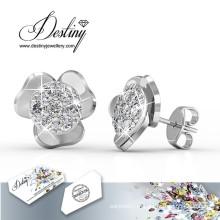 Destino joias cristais de Swarovski simples brincos de flores
