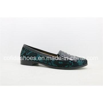 Chaussures en cuir à talons plates en cuir imprimé tendance à la mode