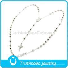 F-N0004 Orden de cantidad pequeña venta caliente de acero inoxidable religiosa personalizada al por mayor rosario collar para hombre collar de cruz celta