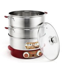 High quality 201 stainless steel electric steamer  2 layers food steamer pot