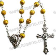 Heiße Verkaufs-6mm gelbe Glasperlen-religiöse Rosenbeet-Halskette