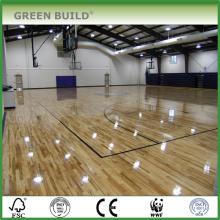 Le plancher en bois de chêne solide blanc utilisé par sports de haute qualité pour la cour de basket-ball