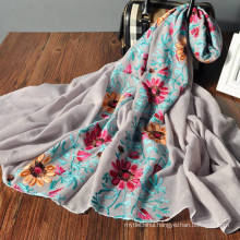 Cute floral print spring wholesale custom printed multi wear fantasy scarf for women