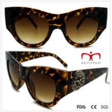 Plástico especial damas gafas de sol en forma de metal con decoración (wsp508369)