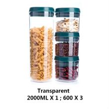 Bocaux en plastique vides transparents avec couvercle à ressort de compression