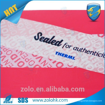 Professional Customized printable security void material -label
