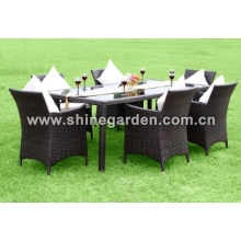 Outdoor PE Wicker Möbel 7 Stück Patio Wicker Dining Set