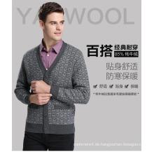 Yak Wolle V-Ausschnitt Strickjacke Langarm Pullover / Kleidung / Garment / Strickwaren