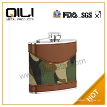 Hot sale leather stainless steel custom celtic hip flasks