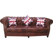 Chesterfield London Canapé de canapé en cuir anodisé antique de 2,5 places avec bras en parchemin
