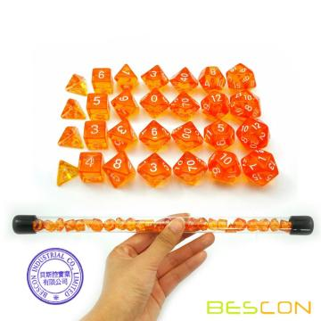 Bescon 28pcs Ensemble de Dés Polyhédral Orange Orange Translucide en Tube, Donjons et Dragons RPG Dés 4X7pcs, Ensemble de Dés Mini Gem