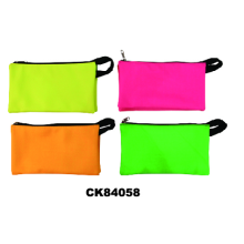 Candy Color Zipped Pencil Pouch With Handle