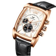 ONOLA 6818 Chronograph Watch Men Square Sport Military Waterproof Quartz Wristwatches Leather Watch Band Clock Relogio Masculino