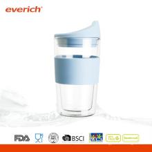 Taza de cristal barata doble respetuosa del medio ambiente respetuosa del medio ambiente dulce para el café