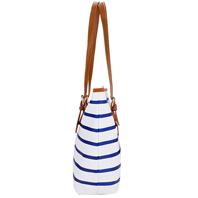 Pu Leather Stripes Tote Shoulder Bag Womens Handbags 3