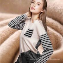 Ladies elegantes cashmere intarsia stripe padrão suéter de malha