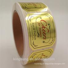 etiqueta feita sob encomenda do papel da folha de ouro da impressão preta para o perfume