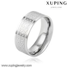 14012 moda legal rodada prata banhado aço inoxidável jóias anel de dedo