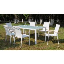 Muebles de jardín al aire libre de aluminio Mesa de comedor de patio y silla de comedor de 6 pilas con tela Batyline