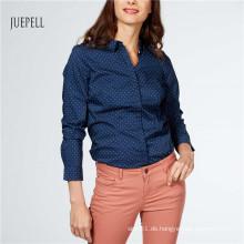 Drucken Baumwoll Büro Damen Shirt