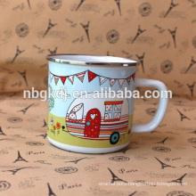 enamel coated Chinese old fashional white mugs & milk and coffee cups custom